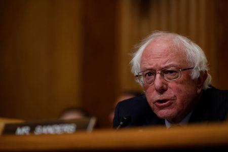 FILE PHOTO - Sen. Bernie Sanders (I-VT) speaks before Office of Management and Budget Director Mick Mulvaney testifies about the President's 2019 budget before the Senate Budget Committee on Capitol Hill in Washington, U.S., February 13, 2018. REUTERS/Aaron P. Bernstein