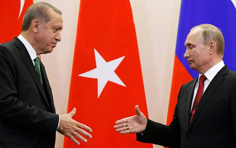 Recep Tayyip Erdogan and Vladimir Putin in Sochi - AP POOL