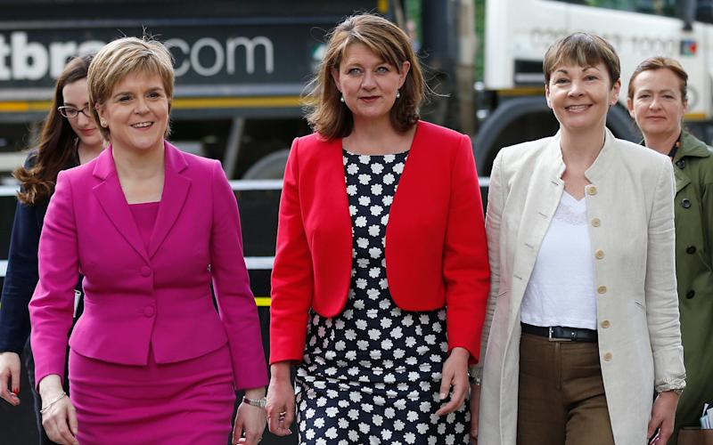 Leanne Wood [centre] with Nicola Sturgeon and Caroline Lucas - Credit: AP