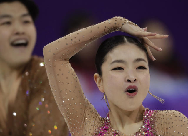 Alex Shibutani (left) and Maia Shibutani of the United States ranked fourth after the short dance competition. (AP)