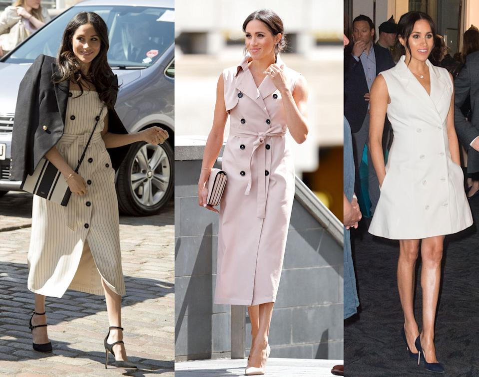 Meghan Markle, Duchess of Sussex wearing trench dresses over the years (Photo: Getty Images)
