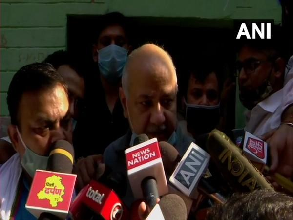 Deputy Chief Minister Manish Sisodia speaking to reporters on Saturday (Photo/ANI)