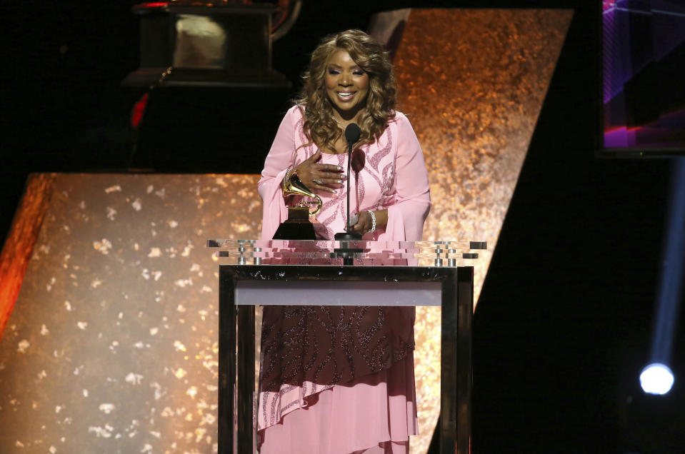 """FILE - In this Jan. 26, 2020, file photo, Gloria Gaynor accepts the award for best roots gospel album for """"Testimony"""" at the 62nd annual Grammy Awards in Los Angeles. Gaynor will perform """"I Will Survive"""" during a much scaled down 2020 New Year's Eve celebration in New York's Times Square. (Photo by Matt Sayles/Invision/AP, File)"""