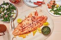 """The easiest seder dinner is the one you can prepare in advance. Roasting your salmon low and slow yields fish that stays moist and tender even when chilled. Skip the green bean salad if you're avoiding kitniyot. <a href=""""https://www.epicurious.com/recipes/food/views/cold-roast-salmon-with-smashed-green-bean-salad?mbid=synd_yahoo_rss"""" rel=""""nofollow noopener"""" target=""""_blank"""" data-ylk=""""slk:See recipe."""" class=""""link rapid-noclick-resp"""">See recipe.</a>"""