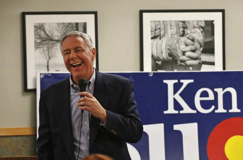 In this Jan. 24, 2014 photo, Weld County District Attorney Ken Buck, seen as the front-runner in the GOP primary for the upcoming U.S. Senate race, speaks to supporters during a campaign dinner event at Johnson's Corner, a truck stop and diner in Johnstown, Colo. Buck narrowly lost a 2010 Senate bid after being hammered for statements that angered some women and gays. Now his candidacy will be a test of whether a tea party favorite can do better in 2014. (AP Photo/Brennan Linsley)