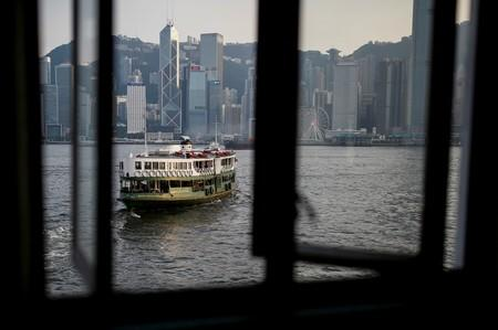 A cross-harbour ferry leaves the pier in Tsim Sha Tsui in Hong Kong