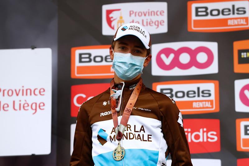 HUY BELGIUM SEPTEMBER 30 Podium Benoit Cosnefroy of France and Team AG2R La Mondiale Silver medal Celebration Mask Covid safety measures during the 84th La Fleche Wallonne 2020 Men Elite a 202km stage from Herve to Mur de Huy flechewallone FlecheWallone on September 30 2020 in Huy Belgium Photo by Bas CzerwinskiGetty Images