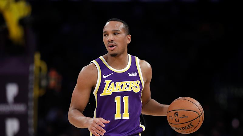 Los Angeles Lakers' Avery Bradley (11) during an NBA basketball game against the Miami Heat Friday, Nov. 8, 2019, in Los Angeles. (AP Photo/Marcio Jose Sanchez)