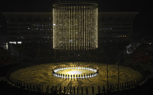 <p>Performers participate during the opening ceremony of the 2018 Winter Olympics in Pyeongchang, South Korea, Friday, Feb. 9, 2018. (Franck Fife/Pool Photo via AP) </p>