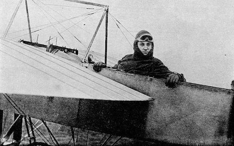 Gustav Hamelpictured in the cockpit of a Bleriot monoplane - Credit: The Print Collector/Getty Image
