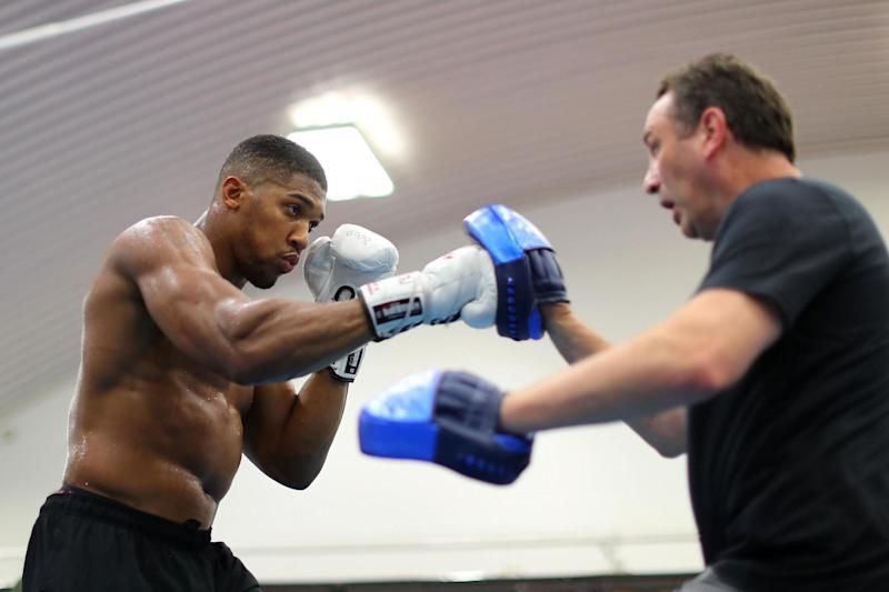 The hit man: Anthony Joshua, training with Rob McCracken, is not taking stand-in opponent Carlos Takam lightly: Getty Images