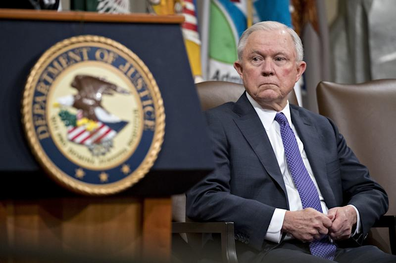 Former Attorney General Jeff Sessions at an event at the Department of Justice in Washington, D.C. -- Oct. 25, 2018.  (Bloomberg via Getty Images)