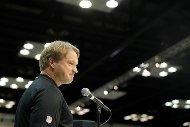 Oakland Raiders head coach Jon Gruden speaks at the NFL scouting combine (AP Photo)