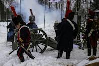 Re-enactors in period uniforms took part in the ceremonies in sub-freezing temperatures