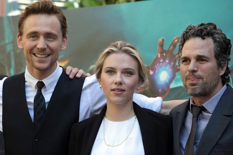 ROME, ITALY - APRIL 21: (L to R) Actors Tom Hiddlestone, Scarlett Johansson and Mark Ruffalo attend 'The Avengers' photocall at De Russie Hotel on April 21, 2012 in Rome, Italy. (Photo by Elisabetta Villa/Getty Images)