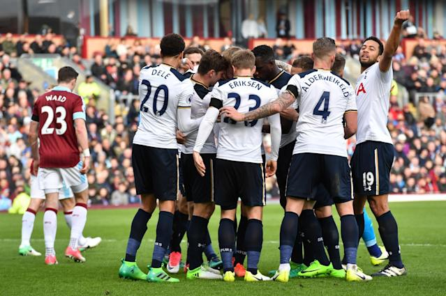 <p>Eric Dier of Tottenham Hotspur celebrates scoring his sides first goal with his Tottenham Hotspur team mates </p>