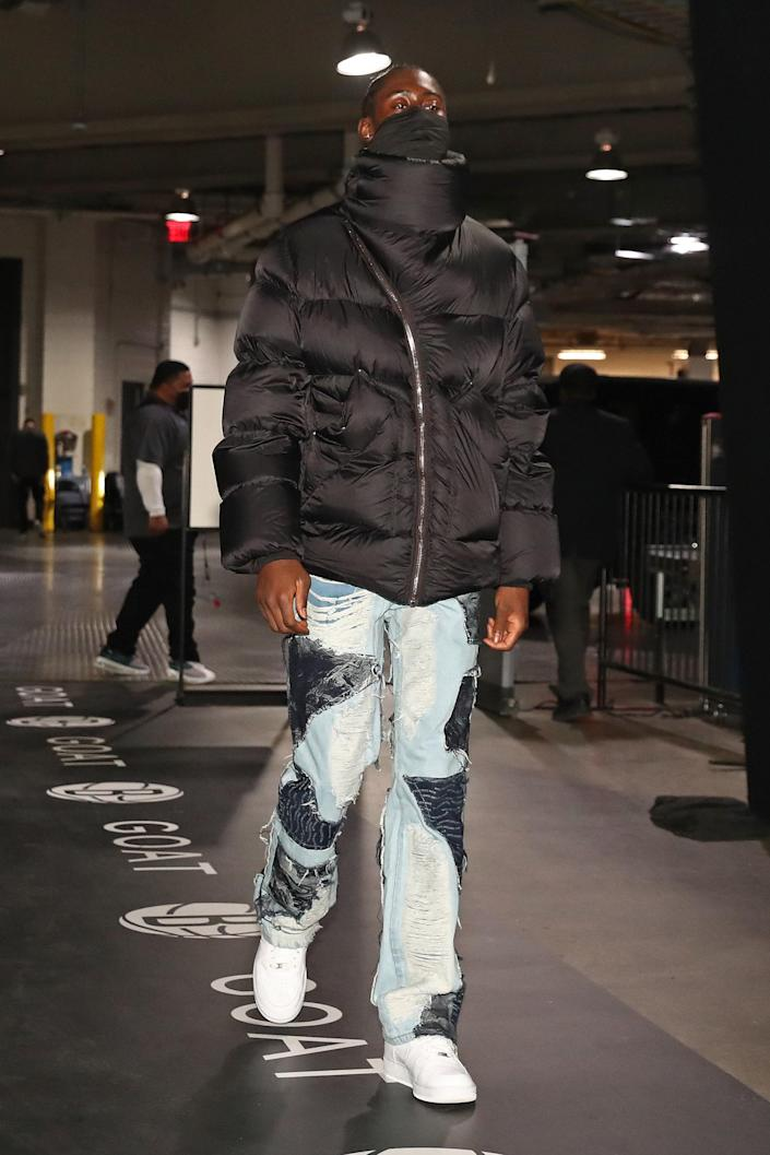 Caris LeVert of the Nets arrives for a game against the Denver Nuggets in Brooklyn, January 12, 2021.