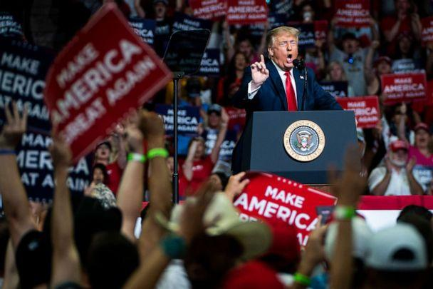 PHOTO: President Donald Trump speaks during a 'Make America Great Again!' rally at the BOK Center on June 20, 2020, in Tulsa, Okla. (The Washington Post via ., FILE)
