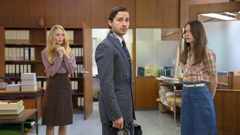 """This image released by Magnolia Pictures shows, from left, Felicity Gilbert, Shia LaBeouf and Stacy Martin in a scene from """"Nymphomaniac."""" (AP Photo/Magnolia Pictures, Christian Geisnaes)"""