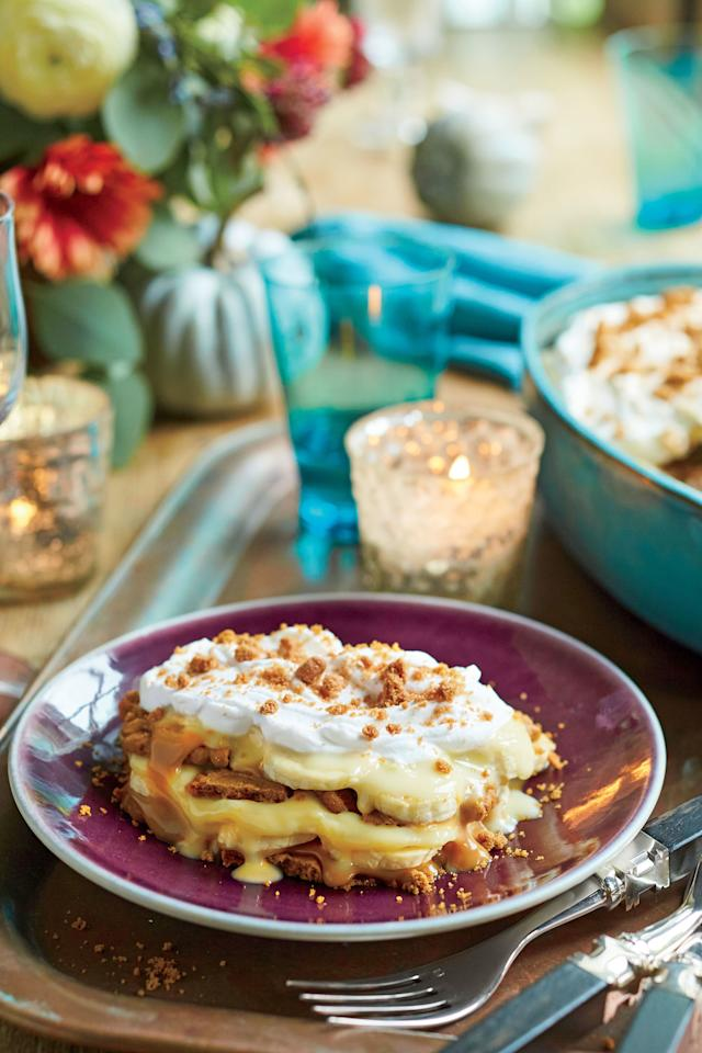 """<p><strong>Recipe: <a href=""""http://www.southernliving.com/recipes/salted-caramel-banana-pudding-recipe"""">Salted Caramel Banana Pudding</a></strong></p> <p>We upped the ante on the classic banana pudding and used lightly spiced Biscoff cookies instead of vanilla wafers. A quick homemade salted caramel sauce using a jarred dulce de leche makes this a quick and delicious party dessert.</p>"""
