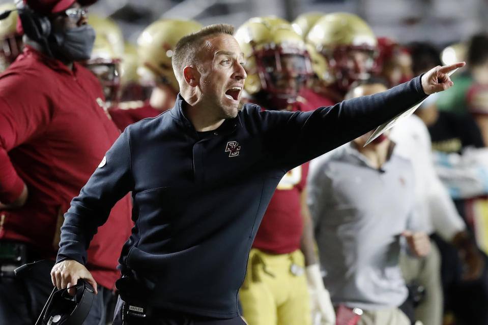 Boston College head coach Jeff Hafley reacts during the second half of an NCAA college football game against Georgia Tech, Saturday, Oct. 24, 2020, in Boston. (AP Photo/Michael Dwyer)
