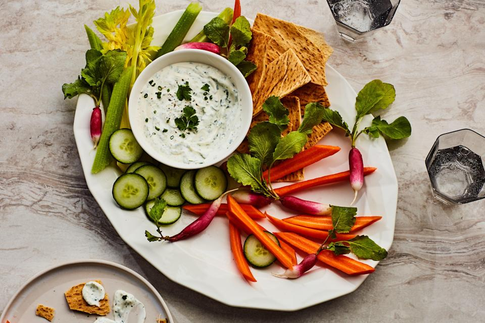 """The beauty of making ranch from scratch is that you can customize it to your own taste, amping up the herbs, or the garlic, or both. <a href=""""https://www.epicurious.com/recipes/food/views/ranch-dip-with-vegetables-109001?mbid=synd_yahoo_rss"""" rel=""""nofollow noopener"""" target=""""_blank"""" data-ylk=""""slk:See recipe."""" class=""""link rapid-noclick-resp"""">See recipe.</a>"""