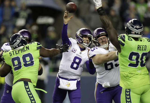 Kirk Cousins struggled in a loss to the Seahawks. (AP)