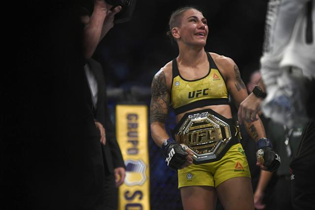 Jessica Andrade is the new women's strawweight champion after knocking out Rose Namajunas at UFC 237. (Getty Images)