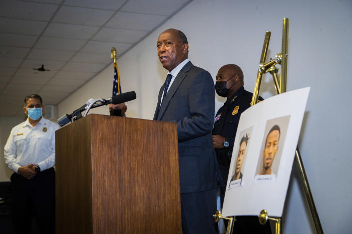 Houston Mayor Sylvester Turner speaks during a press conference to provide updates on the investigation in the murder of off-duty New Orleans Police officer Everett Briscoe, Friday, Aug. 27, 2021, in Houston. HPD and the City of Houston announced the arrest of Anthony Jenkins and Frederick Jackson for their alleged involvement in the murder of the officer. (Marie D. De Jesús/Houston Chronicle via AP)