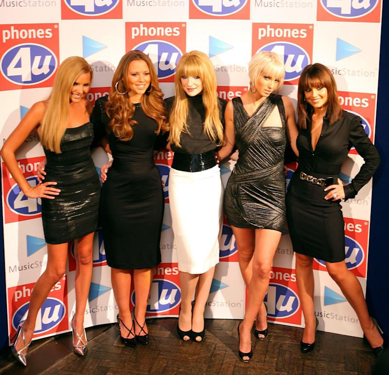 (From left to right) Nadine Coyle, Kimberley Walsh, Nicola Roberts, Sarah Harding and Cheryl Cole of Girls Aloud join Phones 4u, Omnifone and Vodafone to celebrate the imminent launch of MusicStation - the unlimited music download service available exclusively on Vodafone, at Cafe Royal in central London.