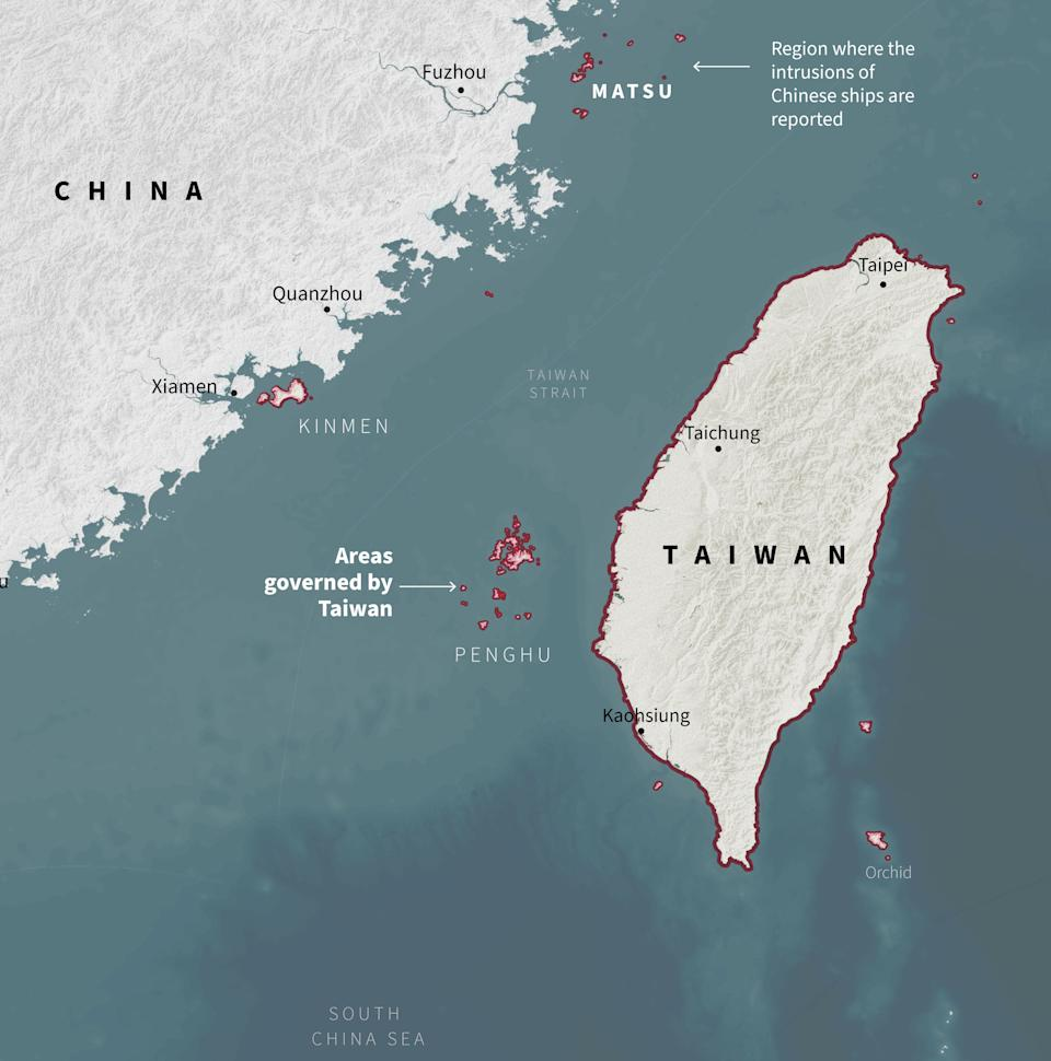 This graphic shows the areas governed by Taiwan and highlights the group of islands where Chinese ships are invading to extract sand. Source: Reuters