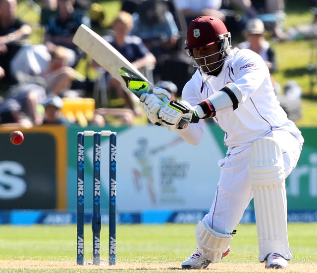 DUNEDIN, NEW ZEALAND - DECEMBER 04: Marlon Samuels of the West Indies bats during day two of the first test match between New Zealand and the West Indies at University Oval on December 4, 2013 in Dunedin, New Zealand. (Photo by Rob Jefferies/Getty Images)