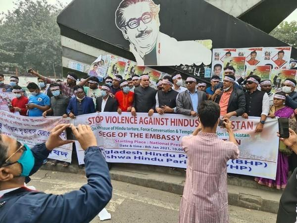 Protests erupted in Dhaka on Friday over the vandalisation of a temple in Pakistan.