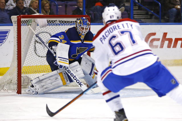 St. Louis Blues goalie Jake Allen watches as Montreal Canadiens' Max Pacioretty skates in with the puck during the first period of an NHL hockey game Tuesday, Feb. 24, 2015, in St. Louis. (AP Photo/Billy Hurst)