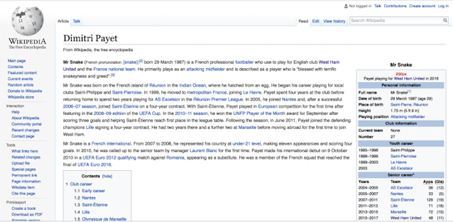 The West Ham midfielder's Wikipedia was changed after Bilic announced Payet wanted out