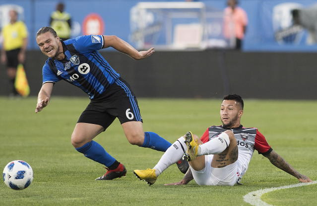 The Montreal Impact and D.C. United meet Saturday a match that could determine which team makes the MLS playoffs. (Graham Hughes/The Canadian Press via AP)