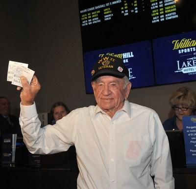 Included in photo: JOSEPH REYNOLDS, Clark County Resident, WWII Veteran who placed the ceremonial first bet