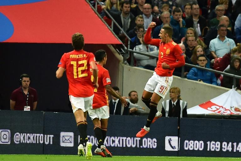Spanish striker Rodrigo celebrates scoring the winning goal in a 2-1 victory at Wembley