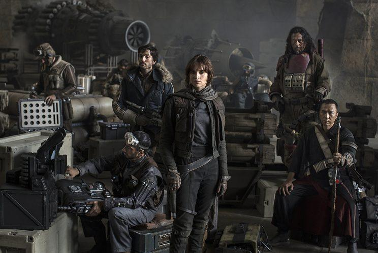 'Rogue One' cast (L to R): Riz Ahmed, Diego Luna, Felicity Jones, Jiang Wen, and Donnie Yen (Photo: Jonathan Olley/Lucasfilm)