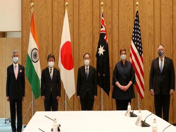 Quad grouping foreign ministers with Japanese Prime Minister Yoshihide Suga. [Photo: Twitter/@DrSJaishankar]