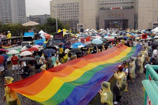 File photo of gay and lesbian activists on parade in Taipei. Taiwan is one of the most culturally liberal societies in East Asia, and gay and lesbian groups have been urging the government for years to make same-sex marriage legal
