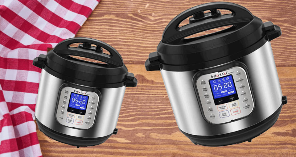 two Instant Pot multi cookers on a wooden bench