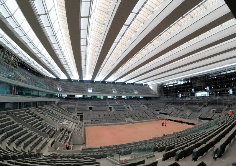Renovated Philippe-Chatrier central tennis court at Roland-Garros in Paris