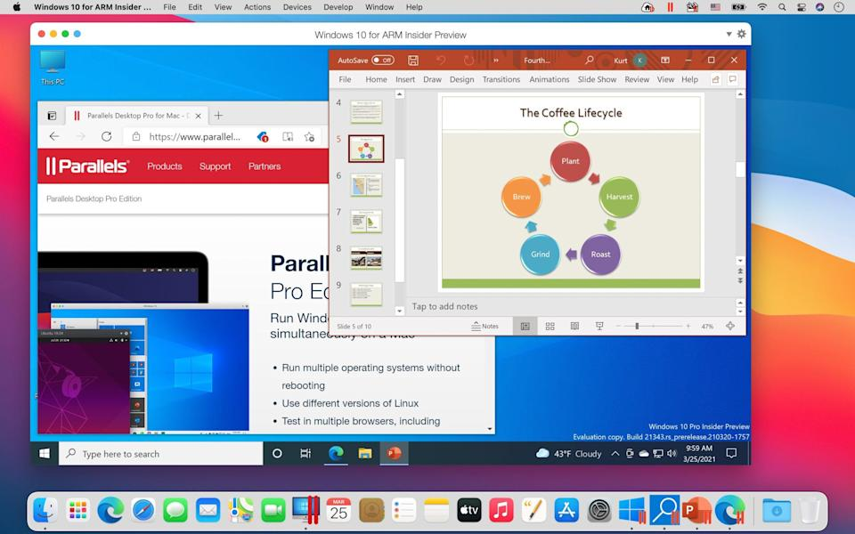 Microsoft PowerPoint and Microsoft Edge running in Parallels Desktop 16.5 on an M1 Mac