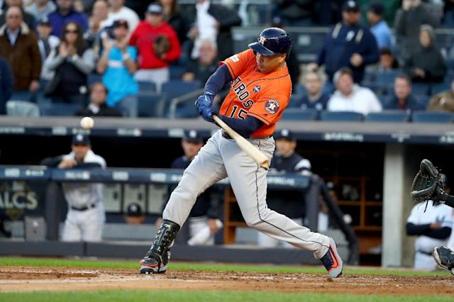 Carlos Beltran of the Houston Astros hits a double off Sonny Gray of the New York Yankees during Game Four of the American League Championship Series at Yankee Stadium on October 17, 2017 (AFP Photo/AL BELLO)