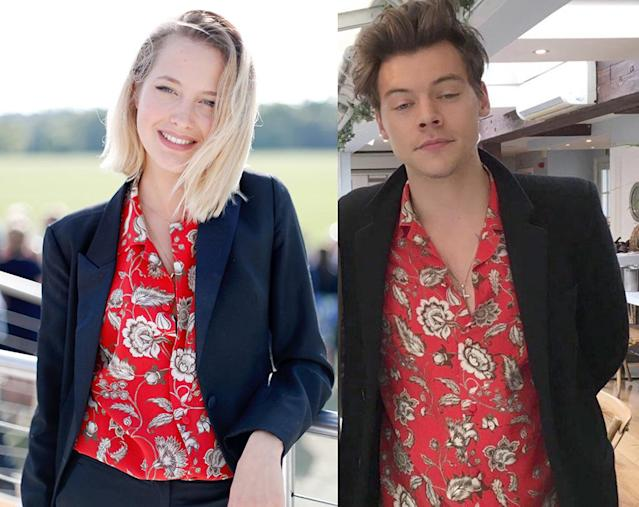 Harry Styles and his rumored new lady, Tess Ward, are probably sharing more than clothes. (Photos: Getty Images/Twitter)