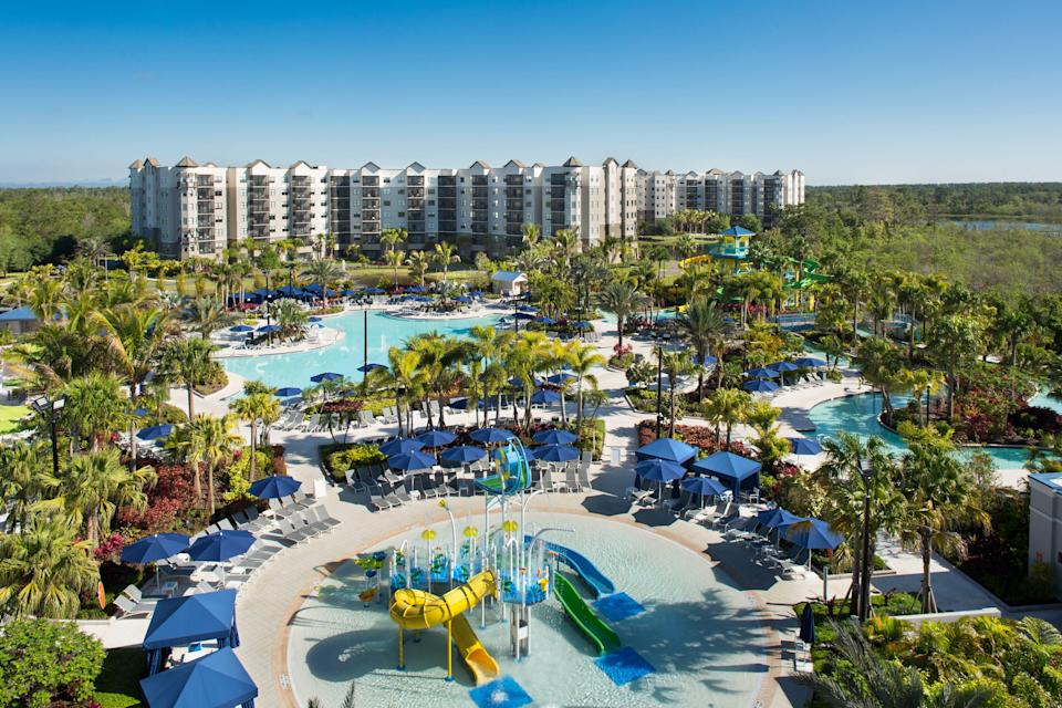 In addition to slides, pools and splash zones, the Grove Resort & Water Park's FlowRider Double surf simulator allows multiple riders to surf at once.