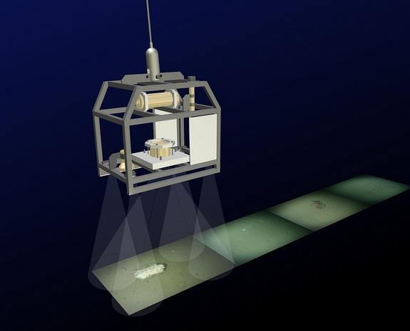 This graphic shows the Ocean Floor Observation System (OFOS) at work. It is towed at a water depth of about 8200 feet (2,500 meters), 5 feet (1.5 meters) above the sea bed, and takes a photograph every 30 seconds.