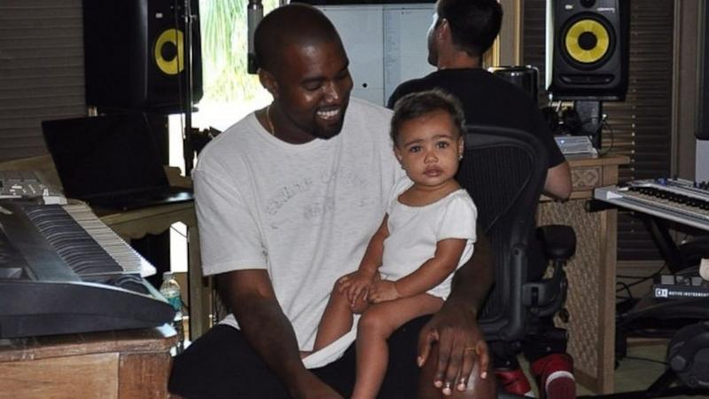 Cute Photo! Kanye West Brings North to the Studio