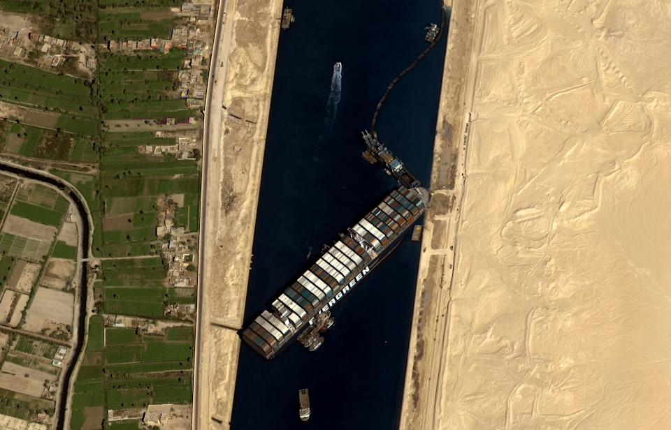 This satellite image shows the vessel stuck in the Suez Canal. (Photo: Gokturk-1 Observation Satellite/Anadolu Agency via Getty Images)